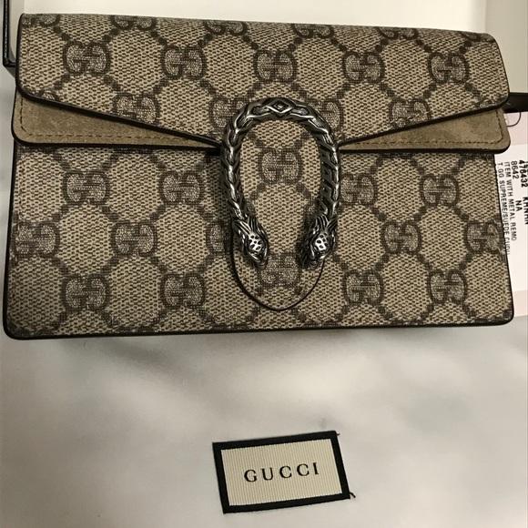 8b534b0d038 Super-Mini NWT Gucci Dionysus Taupe Suede Trim